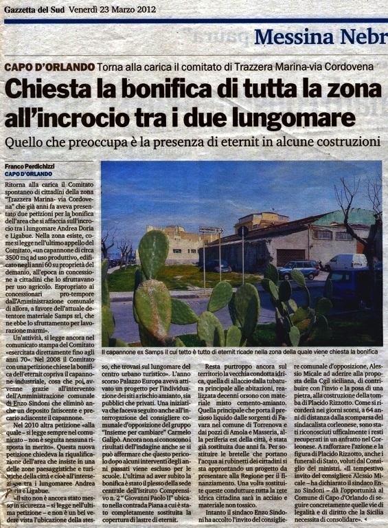 """Ritorna alla carica il comitato di cittadini della zona  """"trazzera Marina - via Cordovena"""""""
